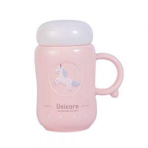 Termos ceramica Unicorn roz 350ml