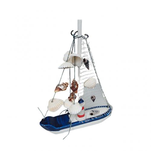 Barca decorativa cu panze Ocean lemn 15x20cm