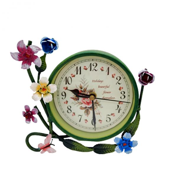 Ceas de masa Shabby Flower verde 16x4x16cm