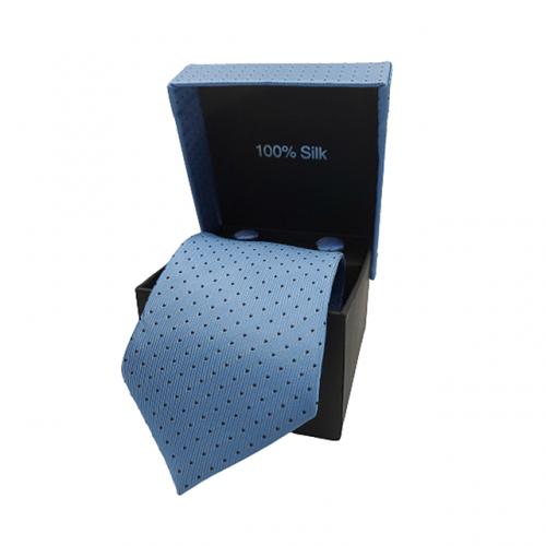 Cravata albastra Pierre cu butoni si batista