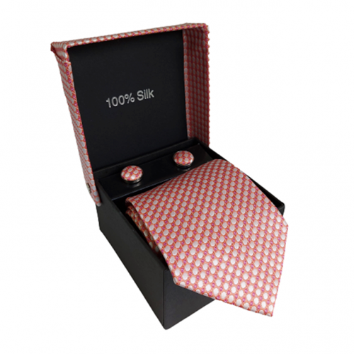 Cravata roz Pierre cu butoni si batista