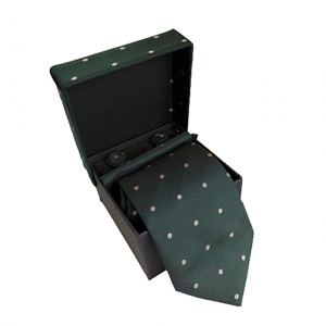Cravata verde Pierre cu butoni si batista