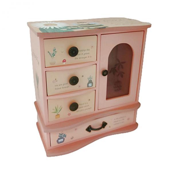 Cutie bijuterii Happy Bee roz lemn 20x10x22cm