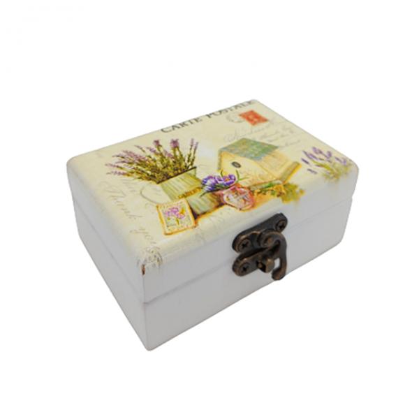 Cutie bijuterii Shabby Provence 9x6x4cm lemn