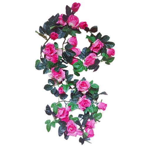 Ghirlanda trandafiri artificiali Pink Rosalinda 165cm