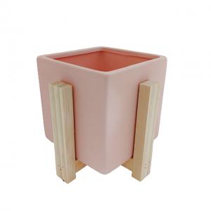 Ghiveci ceramica patrat Berenice roz