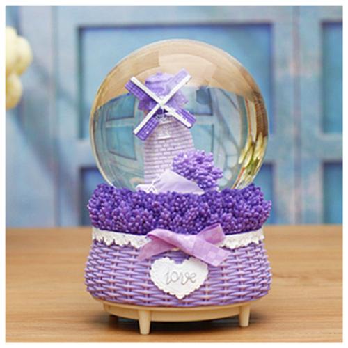 Glob din sticla muzical Lavender Windmill