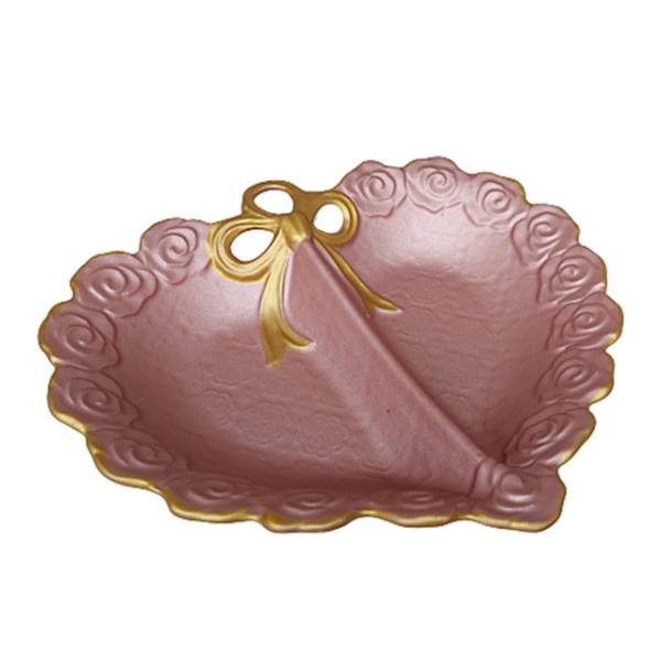 Platou ceramica Pink Leaf 28x25cm roz-auriu