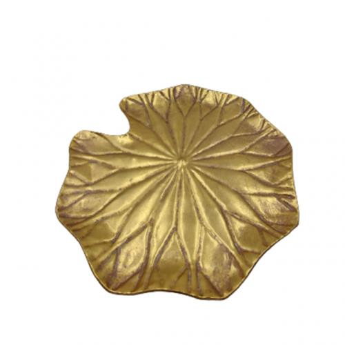 Platou metal frunza Lotus auriu 30cm
