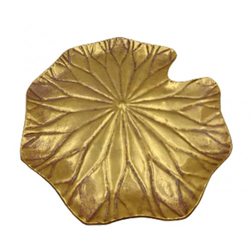 Platou metal frunza Lotus auriu 40cm