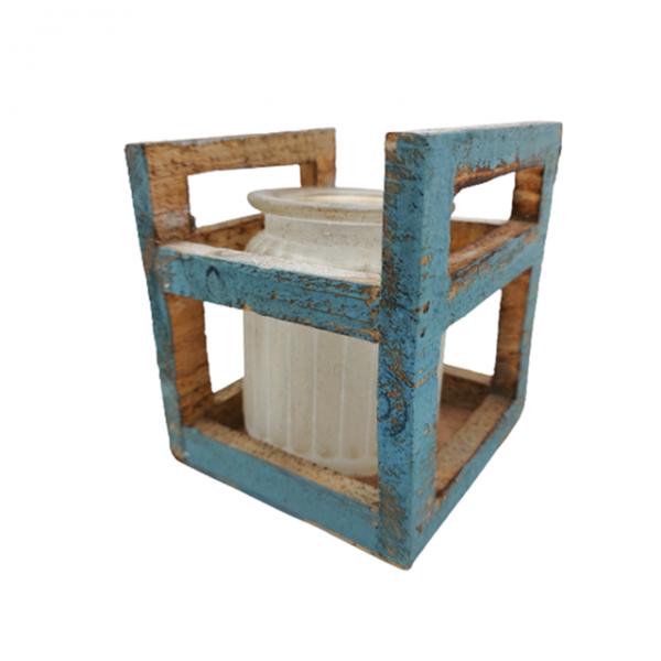 Postament lemn cu vaza Alice 10x12cm Vintage
