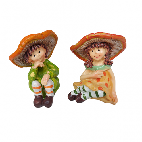 Set 2 figurine Happy Mushrooms 4x7cm