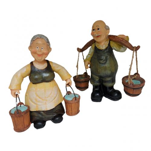 Set 2 figurine cuplu Old Farmers 9x13cm