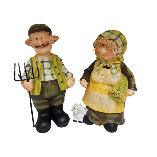 Set 2 figurine cuplu Old Farmers 6x17cm