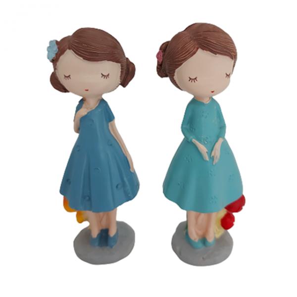 Set 2 statuete Clara & Indra 12cm rasina