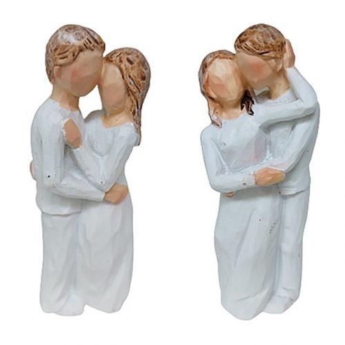 Set 2 statuete cuplu indragostiti Loving alb 9cm