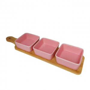Set 3 boluri aperitive Dustin roz portelan