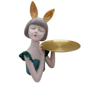 Statueta Green Mademoiselle 30cm cu platou
