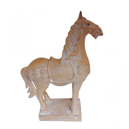 Statueta cal Trigger bej 16x37cm rasina