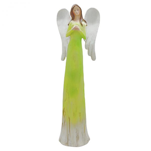 Statueta inger Harmony verde rasina 27cm