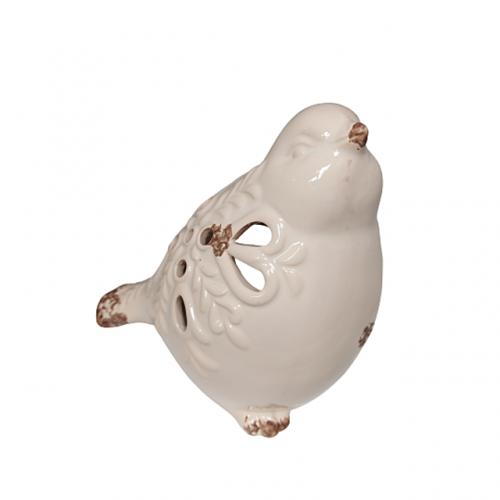 Suport lumanare Merida pasare bej ceramica