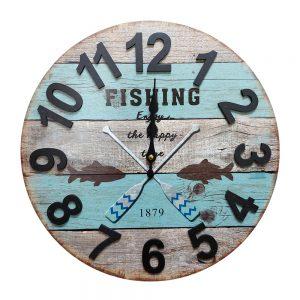 Ceas perete Fishing Mood vintage 40cm