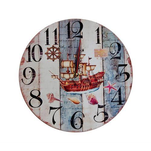Ceas perete Pirate Ship 29cm lemn