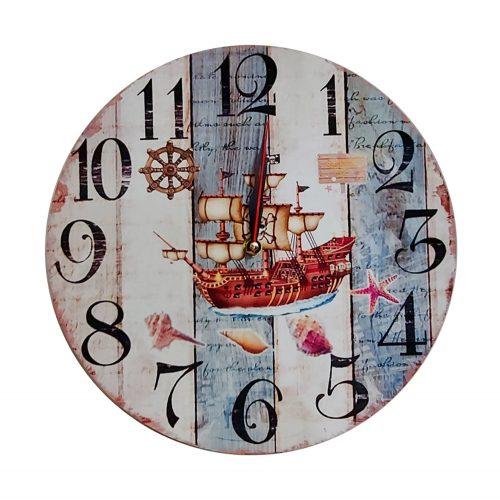 Ceas perete Pirate Ship 33cm lemn