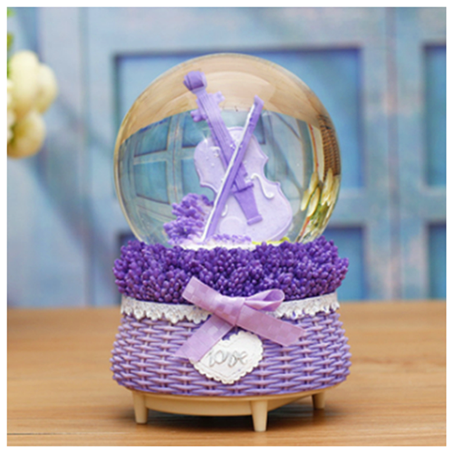 Glob din sticla muzical Lavender Violin