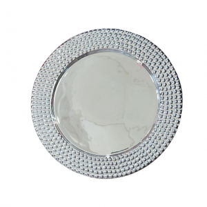 Platou ceramica argintiu Abigail 30cm
