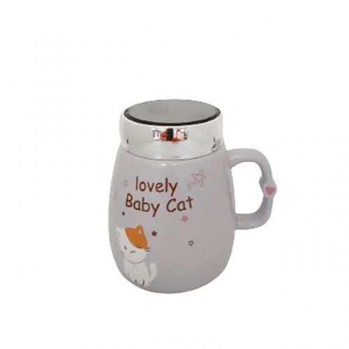 Cana cu capac Lovely Cat mov 400ml