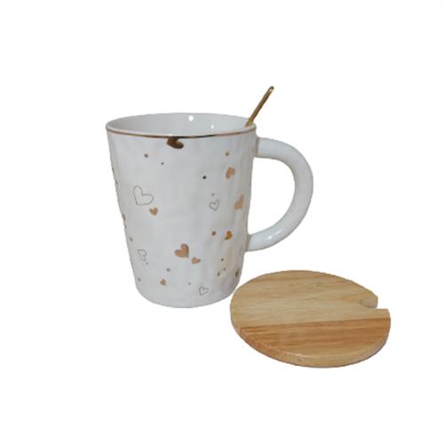 Cana cu capac bambus Hearts 350ml