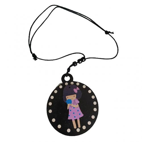 Colier Baby Girl pandantiv negru lemn