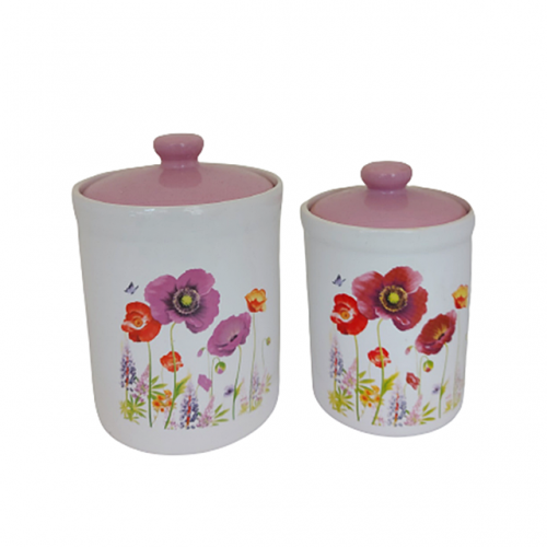Set 2 recipiente ceramica Purple Poppy II