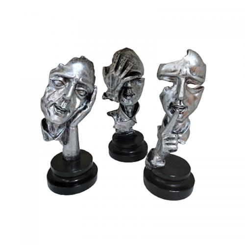 Set 3 statuete Silence Mask 15cm