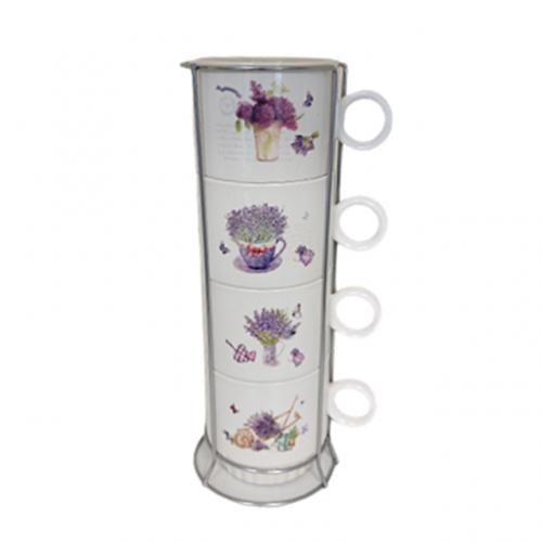Set 4 cesti cafea Lavender ceramica 200ml