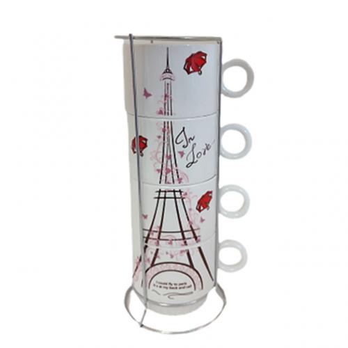 Set 4 cesti cafea Tour Eiffel ceramica 200ml