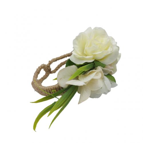Bratara iuta Linda cu flori albe