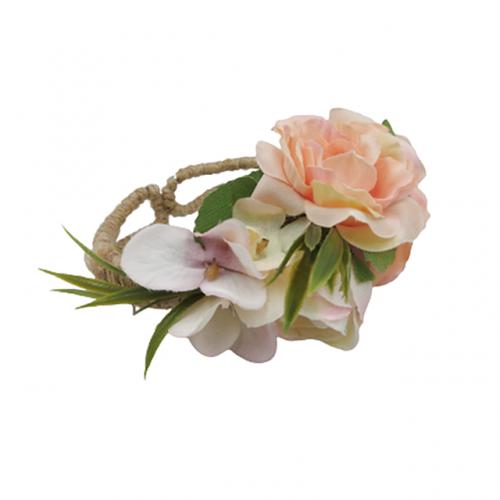Bratara iuta Linda cu flori roz