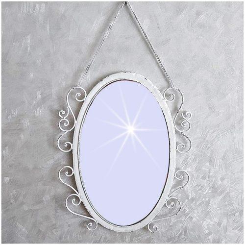 Oglinda ovala Antique White 39x48cm