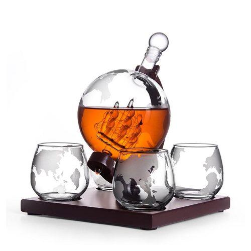 Set cadou Decantor cu 4 pahare Earth Globe