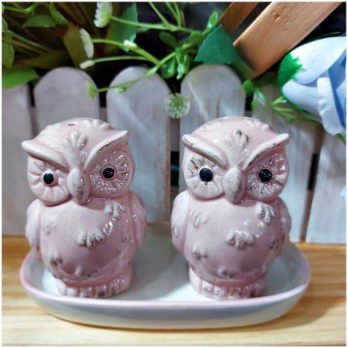 Set sare piper Owlie roz ceramica
