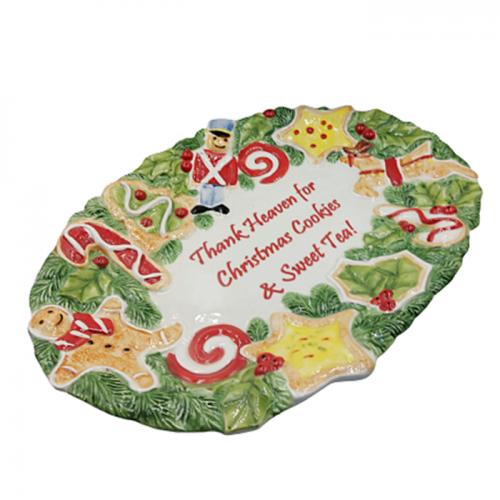 Platou ceramica Xmas Cookies 25x36cm